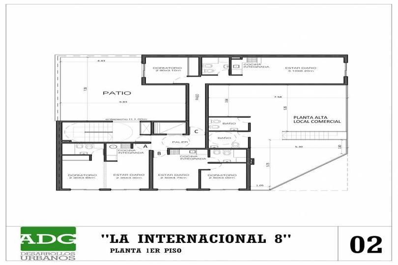 Rosario,Santa Fe,2 Habitaciones Habitaciones,1 BañoBaños,Departamentos,San Juan ,5,1153