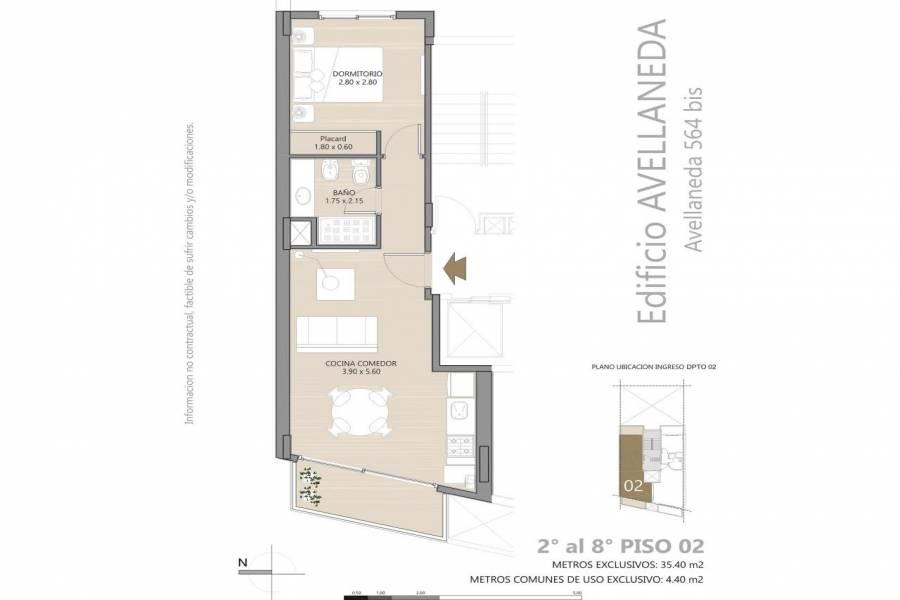Rosario,Santa Fe,1 Dormitorio Habitaciones,1 BañoBaños,Departamentos,Avellaneda 564 bis,Bv Avellaneda,7,1419