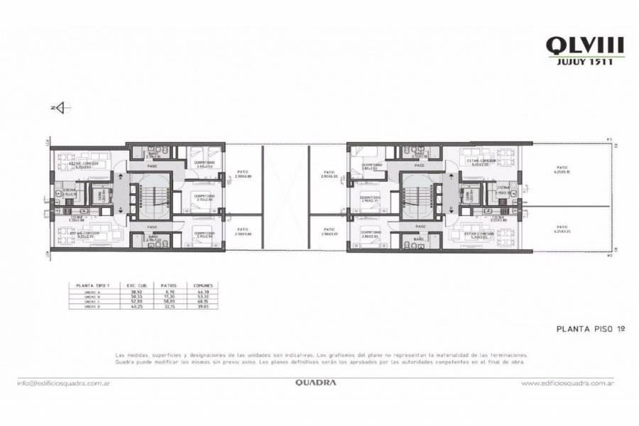 Rosario,Santa Fe,3 Habitaciones Habitaciones,2 BañosBaños,Departamentos,Quadra LVIII,Jujuy,8,1537