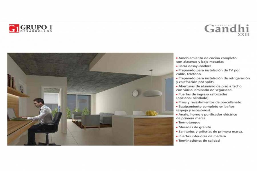 Rosario,Santa Fe,1 Dormitorio Habitaciones,1 BañoBaños,Departamentos,Gandi XXIII,Av. Francia,12,1543