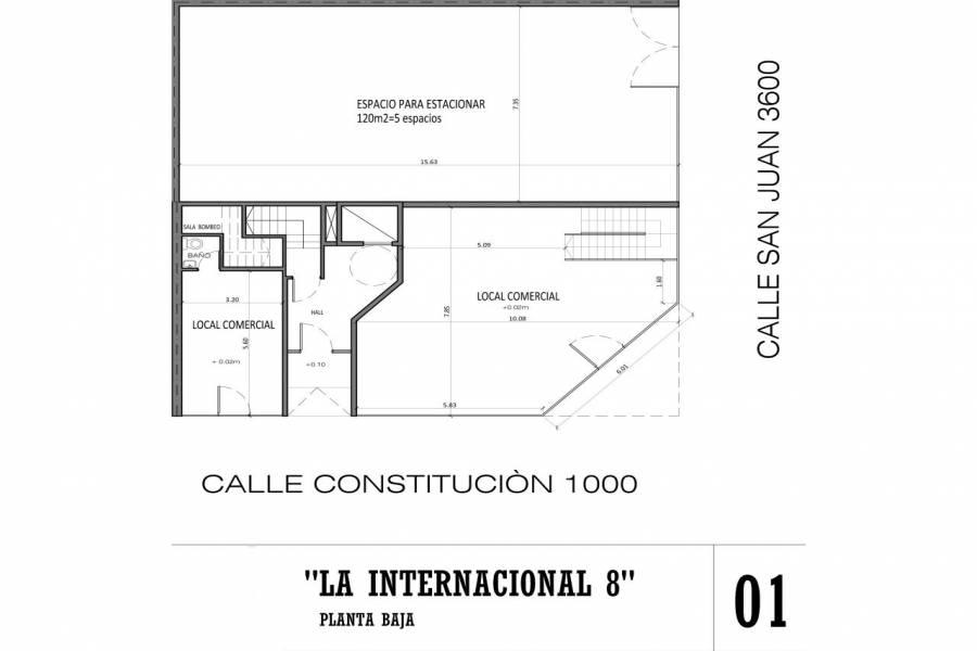 Rosario,Santa Fe,2 Habitaciones Habitaciones,1 BañoBaños,Departamentos,La Internacional 8,San Juan,5,1611