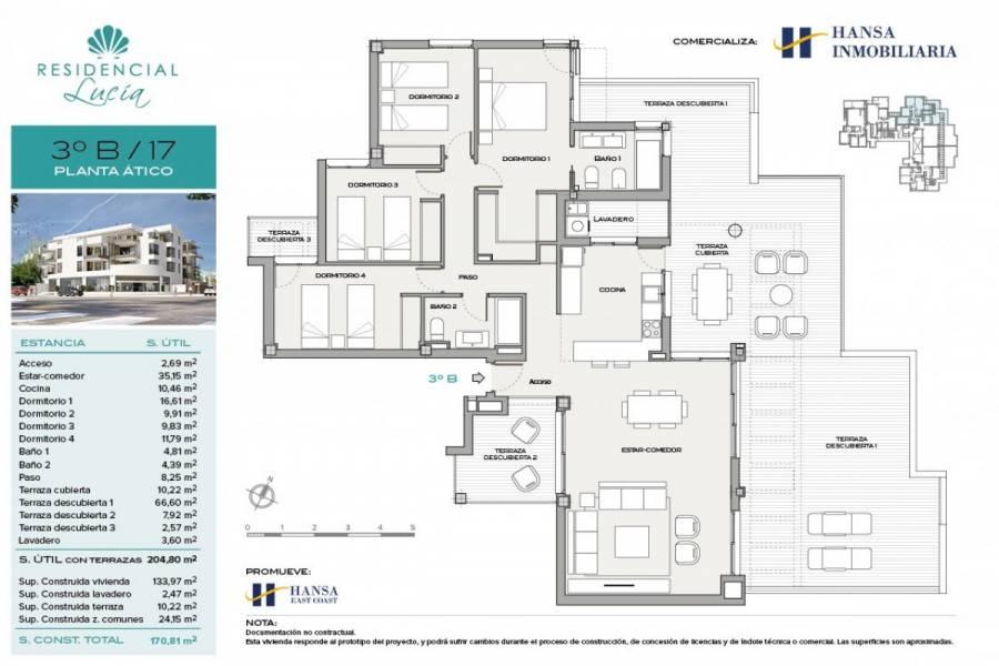 San Juan playa,Alicante,España,4 Bedrooms Bedrooms,2 BathroomsBathrooms,Atico,24684