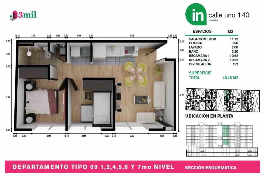 Iztacalco,Distrito Federal,Mexico,2 Bedrooms Bedrooms,1 BañoBathrooms,Apartamentos,Calle Uno,4419