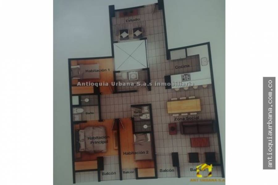 Envigado, Antioquia, Colombia, 3 Bedrooms Bedrooms, ,2 BathroomsBathrooms,Apartamentos,Venta,39B SUR,41006