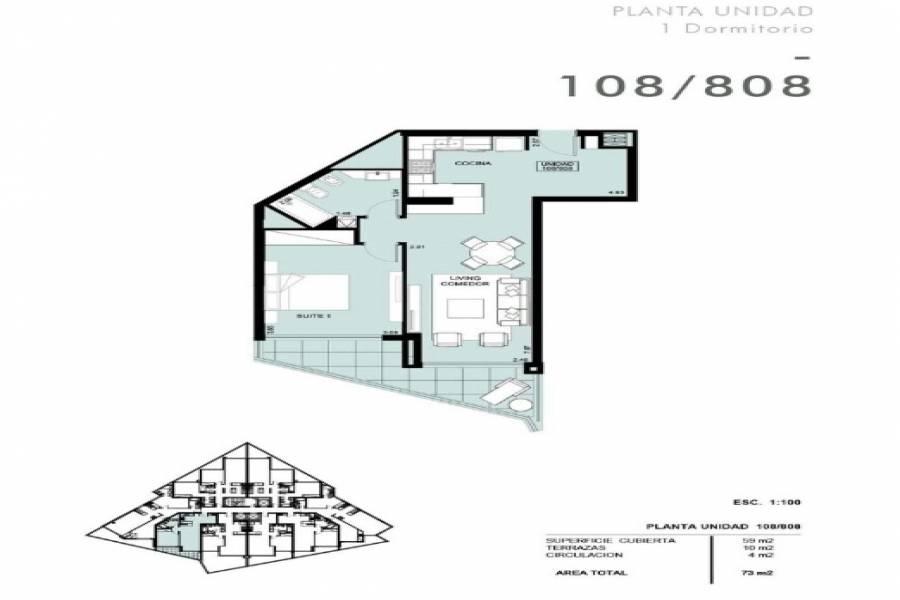 Punta del Este, Maldonado, Uruguay, 1 Dormitorio Bedrooms, ,1 BañoBathrooms,Apartamentos,Venta,41741