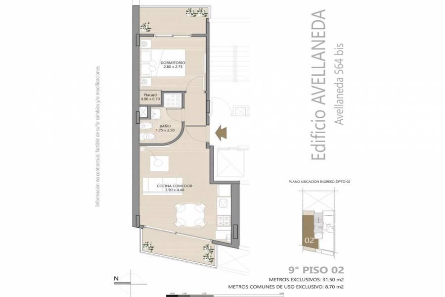 Rosario,Santa Fe,1 Dormitorio Habitaciones,1 BañoBaños,Departamentos,Avellaneda 564 Bis,Bv. Avellaneda ,1,1427
